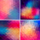 Retro patrón de formas geométricas. banderas colorido mosaico. fondo retro hipster geométrica con el lugar para su texto. fondo retro triángulo. conjunto de cuatro plantillas geométricas. — Vector de stock