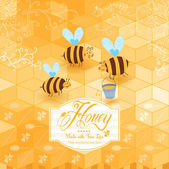 Honey template background. Vintage frame with Honey, bee, honey spoon, set template with label and yellow geometric pattern of honeycomb. Honeycomb, frame label and the funny bees. — Stock Vector