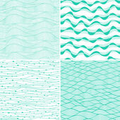 Set of four seamless abstract hand-drawn pattern, waves background. Each square pattern has the ability to be repeated or tiled without visible seams. — Stockvector