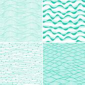 Set van vier naadloze abstracte handgetekende patroon, golven achtergrond. elke vierkante patroon heeft de mogelijkheid om te worden herhaald of betegeld zonder zichtbare naden. — Stockvector