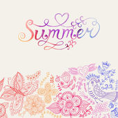 "Vector watercolor floral greeting card with ""Summer"" lettering. — Stock Vector"