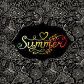 """Summer"" vector watercolor lettering. Hand drawn watercolor background,vector illustration. Composition for scrapbook with empty space for text message. Seamless pattern on the back is complete. Label — Stock Vector"
