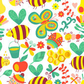 Vector seamless floral pattern. Summer composition with honeycomb, bees, flowers. Use it as pattern fills, web page background, surface textures, fabric or paper, backdrop design. Summer template. — Stock Vector