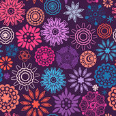 Floral seamless pattern with flowers. Copy square to the side and you'll get seamlessly tiling pattern which gives the resulting image ability to be repeated or tiled without visible seams. — Stockvector