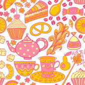 Tea vector seamless doodle teatime backdrop.Cakes to celebrate any event or occasion, use it as pattern fills, web page background, surface textures, fabric or paper, backdrop design. Summer template. — Stock Vector