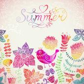 """Vector cartão com letras de """"verão"""" aquarela floral. fundo retro vintage com ornamento floral em que você pode projetar cartões, capa de caderno e assim. fundo do tema primavera. — Vetor de Stock"""