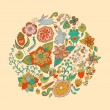 Vector illustration of circle made of flowers and birds. Round s — Vector de stock