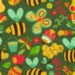 Vector seamless floral pattern. Summer composition with honeycom — Imagens vectoriais em stock
