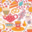 Tea vector seamless doodle teatime backdrop.Cakes to celebrate a — Stock Vector #28683133