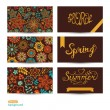 Vector Set of three horizontal business cards. Summer banners. F — Stok Vektör