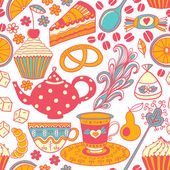 Tea vector seamless doodle teatime backdrop.Cakes to celebrate a — Stock Vector