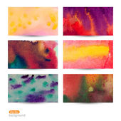 Vector set of six watercolor abstract hand drawn background,vect — Stock Vector