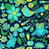 Vector forest seamless pattern. Floral background.Owl, rabbit, b — 图库矢量图片