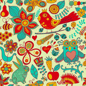 Vector forest seamless pattern. Floral background.Owl, rabbit, b — Wektor stockowy