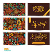 Vector Set of three horizontal business cards. Summer banners. F — Stockvektor