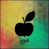Apple silhouette on hipster background made of triangles with gr — Stock Vector