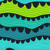 Vector seamless wave hand-drawn pattern, waves background (seaml — Stock Vector