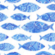 Stock Photo: Seamless pattern with fishes, watercolor hand painted background, watercolor fish, seamless background with stylized blue fish.Wallpaper, watercolor fabric, blue wrapping ornaments