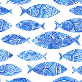 Seamless pattern with fishes, watercolor hand painted background, watercolor fish, seamless background with stylized blue fish.Wallpaper, watercolor fabric, blue wrapping ornaments — Stock Photo