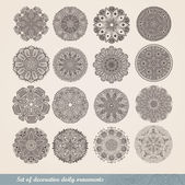 Vector Indian ornament, kaleidoscopic floral pattern, mandala. Set of sixteen ornament lace. ornamental round lace pattern, circle background with many details, looks like crocheting handmade lace — Stock Vector