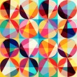 Vector geometric pattern of circles and triangles. Colored circl — ストックベクタ