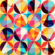 Vector geometric pattern of circles and triangles. Colored circl — Stock vektor