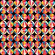 Vector geometric pattern of circles and triangles. Colored circl — Vector de stock