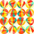 Vector geometric pattern of circles and triangles. Colored circl — Vektorgrafik