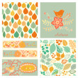 Vector autumn set, seamless pattern with leaf, autumn leaf backg — Stock Vector