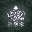 Vector Merry Christmas lettering. Greeting card with hand-drawn — Vettoriale Stock