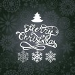 Vector Merry Christmas lettering. Greeting card with hand-drawn — 图库矢量图片