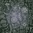 Vector chalkboard seamless floral pattern. Copy that square to t — 图库矢量图片