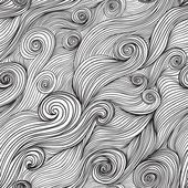 Vector seamless wave hand-drawn pattern, waves background (seaml — Wektor stockowy
