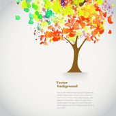 Vector watercolor autumn tree with spray paint. Autumnal theme — Stock Vector
