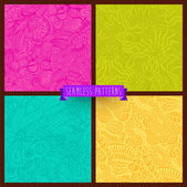 Vector set of four seamless hand-drawn pattern, waves background — Stock Vector