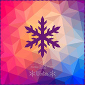 Vector snowflake. Abstract snowflake on geometric pattern. Snowf — Stock Vector