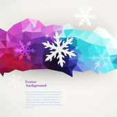 Vector winter composition made of triangles with snawflakes and — Stock Vector