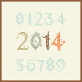 Vector New year 2014 (two thousand and thirteen). Set of stylize — Stock Vector