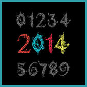 Vector New year 2014 (two thousand and thirteen). Set of stylize — Vecteur
