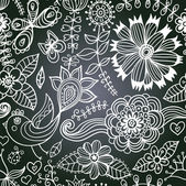 Vector chalkboard seamless floral pattern. Copy that square to t — Stock Vector