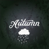 "Vector illustration with ""Autumn"" vector watercolor lettering. A — Stock Vector"