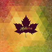 Vector autumnal maple leaf background made of triangles. Retro b — Vetor de Stock