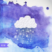 Vector cloud with snowfall on watercolor backdround, winter back — Stock Vector