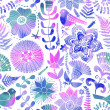 Watercolor texture with flowers and birds. Floral pattern.Origin — Stock Photo