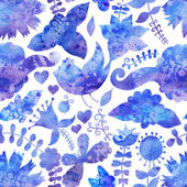 Watercolor texture with flowers and birds. Floral pattern.Origin — 图库照片