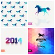 Set of four New Year symbols. Blue horse.Vector retro supply, hi — Stock Vector #39894151
