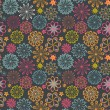 图库矢量图片: Floral seamless pattern with flowers. Vector blooming doodle flo