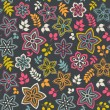 Floral seamless pattern with flowers. Vector blooming doodle flo — Stock vektor