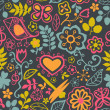 Vector de stock : Floral seamless pattern with flowers. Vector blooming doodle flo