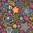 Floral seamless pattern with flowers. Vector blooming doodle flo — Stok Vektör